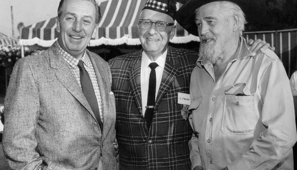 Walt Disney, Lawrence Frank and Walter Van de Kamp outside The Tam O'Shanter Inn 1960