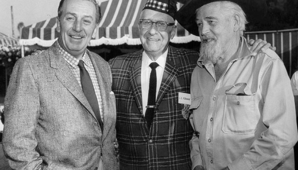 \Walt Disney, Lawrence Frank and Walter Van de Kamp outside The Tam O\Shanter Inn 1960\